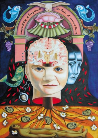 Yvonne Mabs Francis's painting, The Impossibility of Being Inside the Brain of Someone Living. In the painting a tree supports a central head with an exposed brain, which draws new life, fish are in either corner and a dove flies overhead.