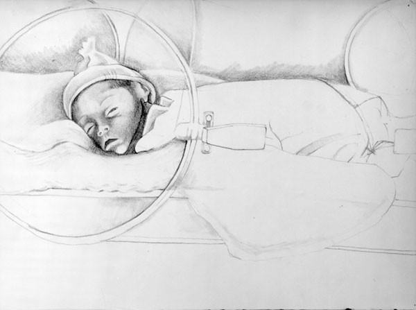 Can you see her little face? (pencil drawing 1990)