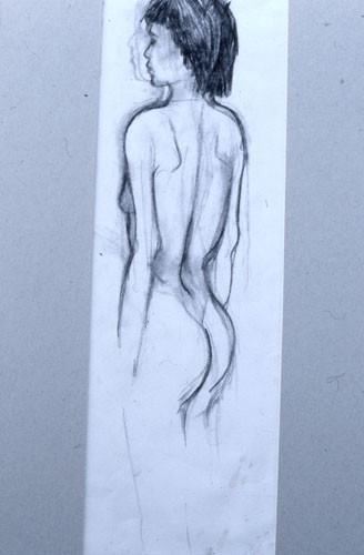 Portrait of myself standing remembered from a dream (charcoal 1980)