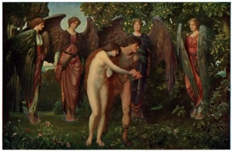 victorian painting of a naked Adam and Eve being seen out of the garden of Eden by a group of angels with stern expressions