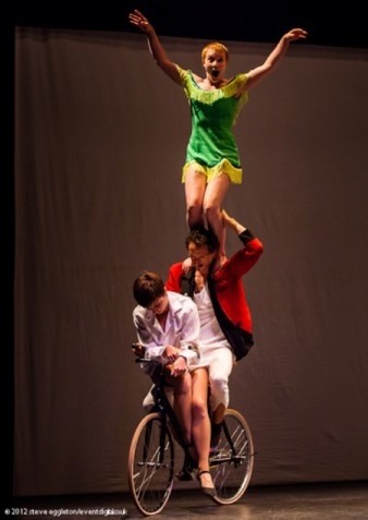 Three on a bike from the Box of Frogs performance Steve Eggleton 2012