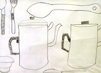 drawing of two coffee pots and cutlery