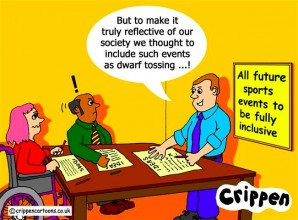 crippen cartoon showing a group considering how to make sports more inclusive. a man offers a suggestion that the answer is to introduce 'dwarf tossing' as an olympic sport