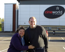 Chris Love and June Hall standing outside Hull Cineworld after presenting Oska Bright screenings in the cinema.