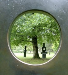 photo of a tree in leaf with a round frame border
