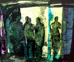 Painting of a group of abstract figures in an urban landscape