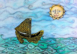 watercolour illustration of a knitted boat sailing across a sea laden with fish under a sun with a large round face on it