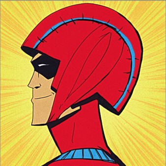 cartoon of a male superhero head complete with wicked grin and red futuristic headpiece