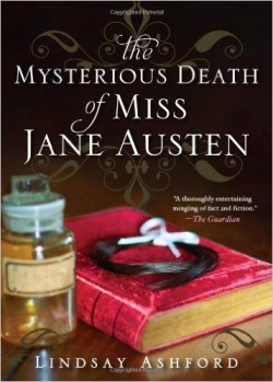 cover of Lindsay Ashford's novel showing a red hardbound book with a lock of black hair placed on top, next to a glass phial of golden coloured liquid