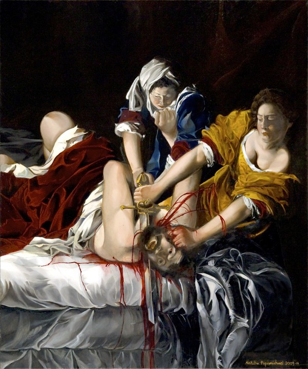 Painting by Natalie Papamichael depicting a man being murdered by two women