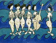 Painting by Natalie Papamichael depicting a series of mermaids making music as they float above the sea