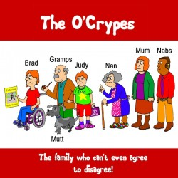 Crippen's O'Crypes title frame cartoon introducing all the characters in the cartoon blog