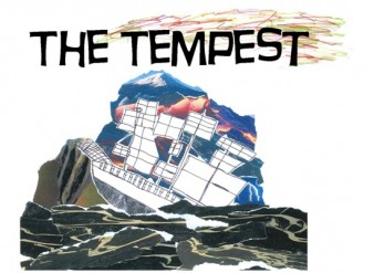The Tempest production flyer drawing of a ship on a stormy sea