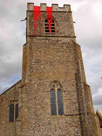 Photo shows an artist's impression of 'We All Bleed Red'- a church tower bleeding from the roof.