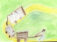 Watercolour of a figure pulling a train-load of people by a rope, along a yellow, brick road.