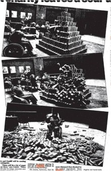 photo of three images of the artist throwing an artificial leg at a pyramid of collecting cans