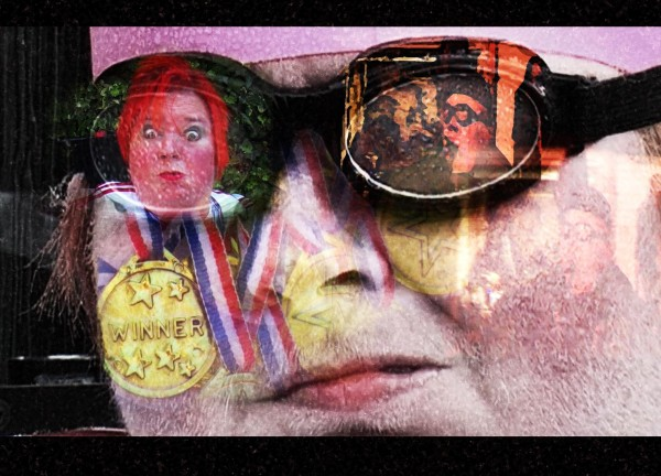 digitised image of artist katherine araniello pictured as a reflection within a pair of sports goggles on her face