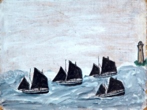 painting of four boats with black sails and a lighthouse on a rough sea
