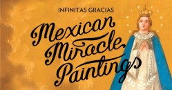painting of a female saint with a crown, dressed in blue with the words Mexican Miracle paintings