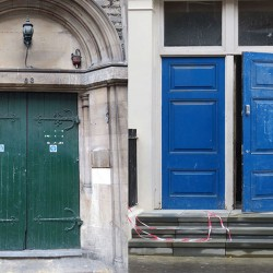 photo of two doorways collaged next to each other: one is a forbidding green door with classic stone architecture around it; the other two adjoining blue doors above a series of stone steps