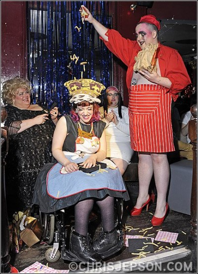 me winning Burger Queen in 2011. Also pictured are Gloria Swansong, who won the 2012 contest, contestant Bea Sweet and host Scottee