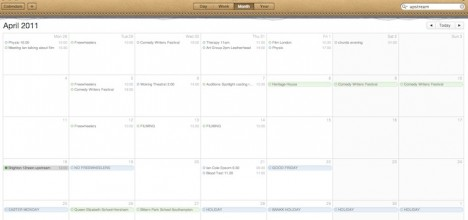 Screen image of iCal Calendar for April 2011