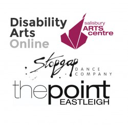 Image shows cluster of logos for DAO, Salisbury Arts Centre, Stopgap and The Point