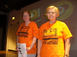 Maggie and Sarah from Oska Bright present films to the HUll audiences