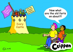 Crippen's cartoon about younger disabled people