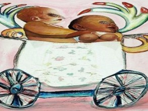 a drawing and photo montage of two babies in an old-fashioned pram
