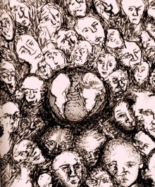 drawing of a group of faces huddled around the world