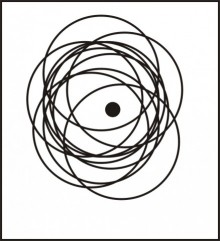 black and white line drawing of a neucleus