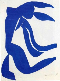 A cut-out made using blue gouache coloured paper against a white background. The form is a stylised figure of a nude woman. Her