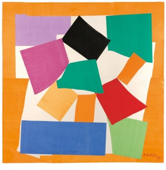 A series of coloured squares, which represent the abstracted form of a snail