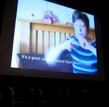 Melissa presenting her pitch at Deaffest 2010