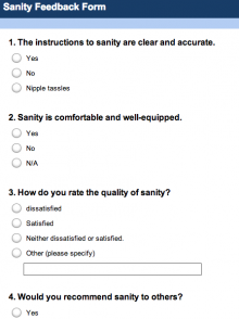 Sanity Feedback Form