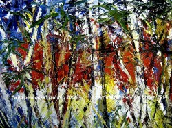 abstract oil painting showing wild expressive strokes of colour