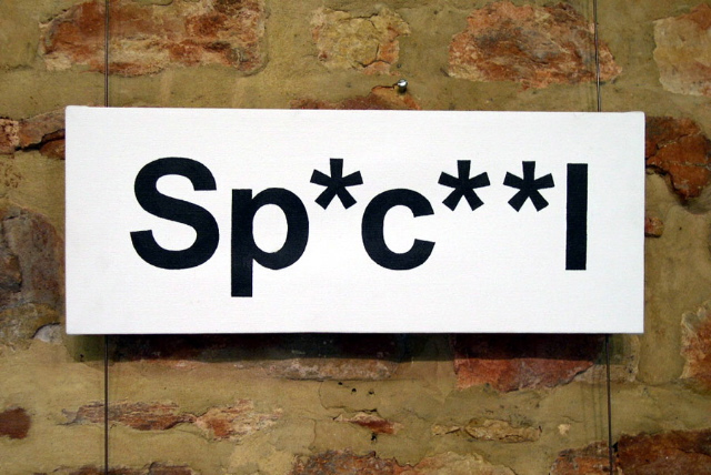 Caroline Cardus' Dirty Words for Disabled People takes the word 'special' and respells it Sp*c**l