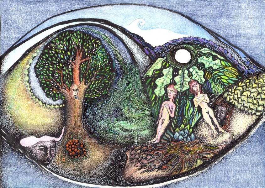 ink and crayon drawing of adam and eve and the tree of knowledge in a garden peopled by partial faces