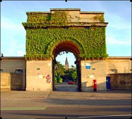photo of St Bernard's Gate, covered in ivy