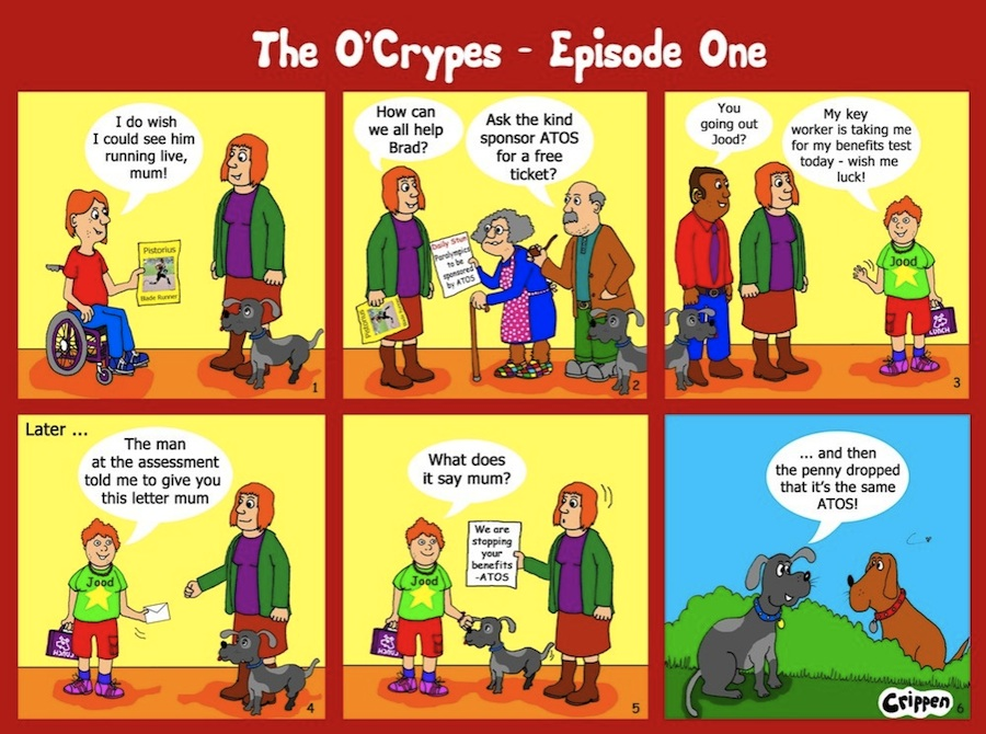 Crippen six frame cartoon strip telling the the story of a day in the life of the O'Crypes