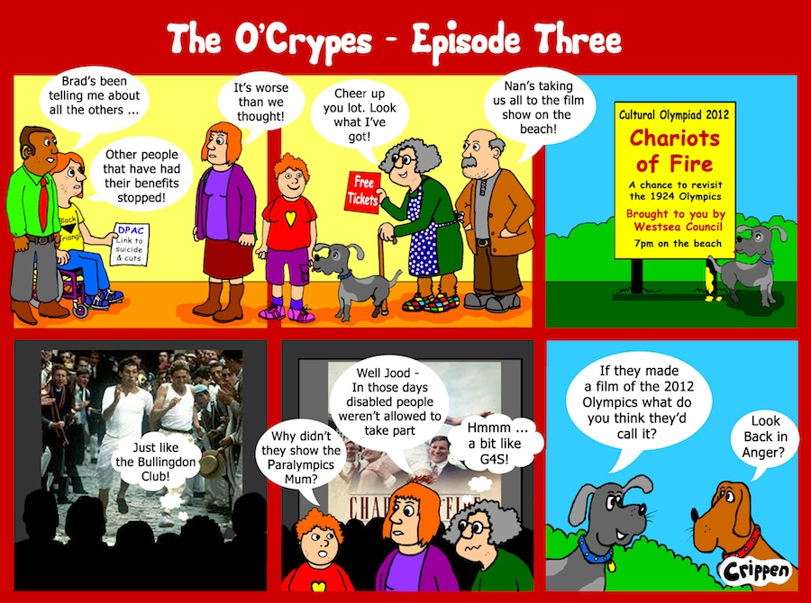 Crippen six frame cartoon strip telling the the story of a day in the life of the O'Crypes family