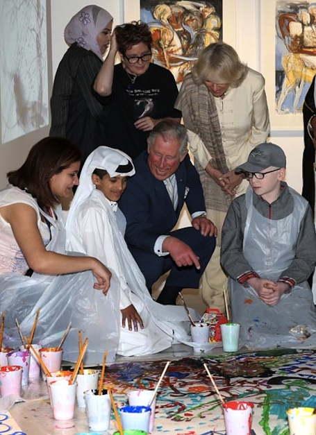 photo of group including royals attend a bodymapping workshop